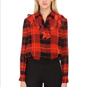 Kate Spade Woodland plaid blouse